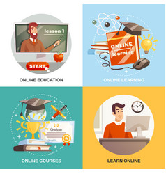 Online learning 2x2 design concept vector