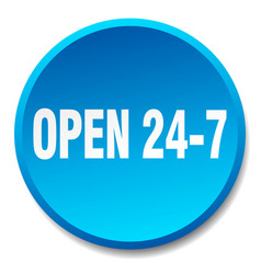 Open 24 7 blue round flat isolated push button vector