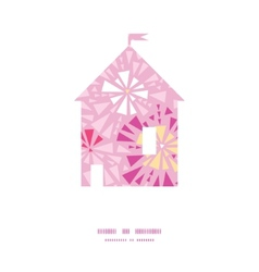 Pink abstract triangles house silhouette pattern vector