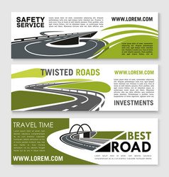 Safety road construction and travel banners vector