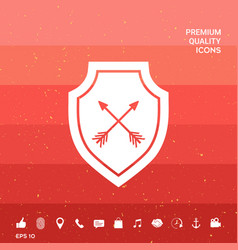 Shield with arrows protection icon vector