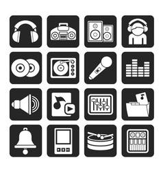 Silhouette Music and sound Icons vector image