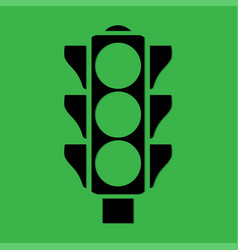 Traffic light on a green background vector