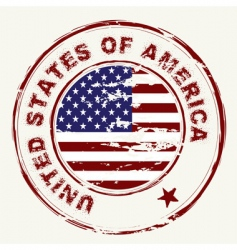 us flag grunge ink stamp vector image