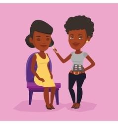 Visagiste doing makeup to young girl vector