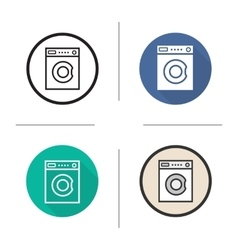 Washing machine flat design linear and color vector
