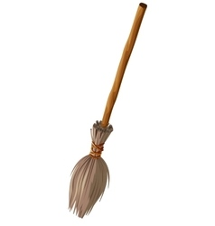 Old broom with long handle vector