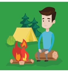 Man sitting on log near campfire in the camping vector