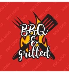 Creative bbq logo design with flame vector