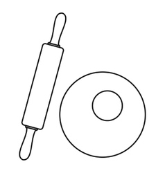 Dough and rolling pin icon outline style vector