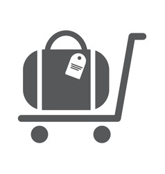 Luggage trolley flat icon vector