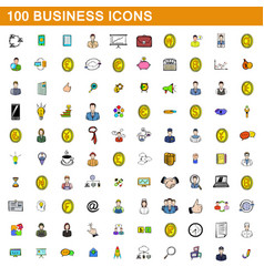 100 business icons set cartoon style vector image