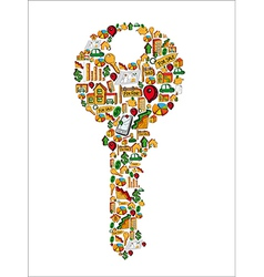 Real estate icons in a house key vector image