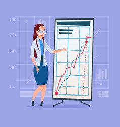 Business woman with flip chart seminar training vector