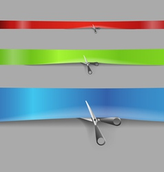 Scissors cutting the color advertising ribbons vector