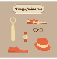 Vintage fashion men elements set vector