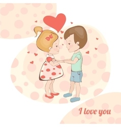 Boy and girl holding handscouple in love in vector