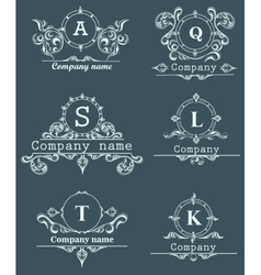 Set ornamental company logos vector