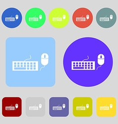 Computer keyboard and mouse icon 12 colored vector