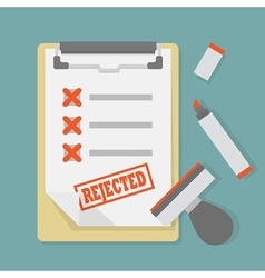 Rejected paper document on clipboard icon vector