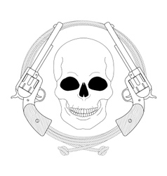 Wild west emblem skull and pistols in lasso frame vector