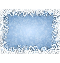 Snowflakes frame on frosty background vector