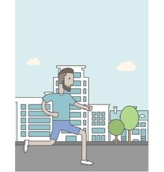 Caucasian hipster man with beard jogging on street vector