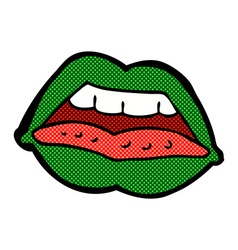 Comic cartoon sexy halloween lips symbol vector