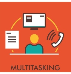 Multitasking monitor computer phone paper vector