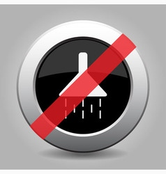 Gray chrome button - no shower vector