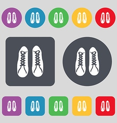Shoes icon sign a set of 12 colored buttons flat vector