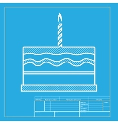 Birthday cake sign white section of icon on vector