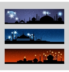 Arabic banners set with mosque vector