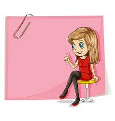 A pretty lady in front of the empty pink signage vector image vector image