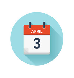 April 3 flat daily calendar icon date and vector