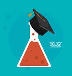 Biology test tube graduation cap icon vector