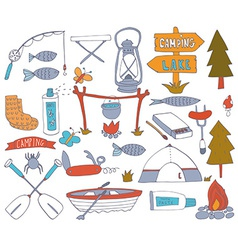 Camping adventure set vector