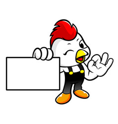 Chicken character is ok gestures and holding a vector