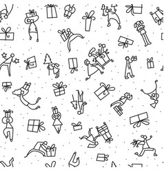 christmas seamless pattern with people with gifts vector image vector image