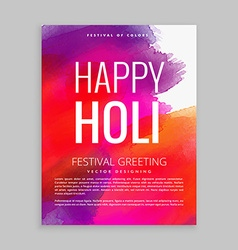 Colorful holi festival flyer with paint vector