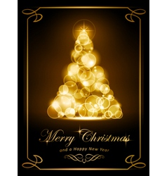 Elegant golden Christmas card vector image vector image