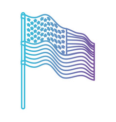 Flag united states of america in pole waving to vector