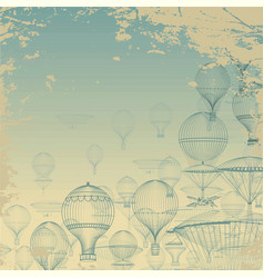 Flight aeronautics vintage hot air balloons vector