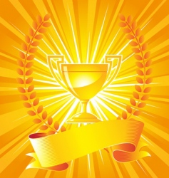 Gold trophy with laurel wreath vector