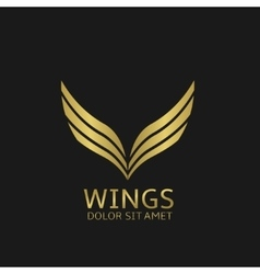 Golden wings logo vector image vector image