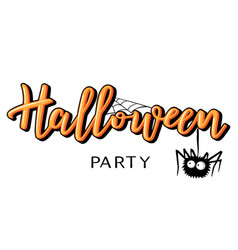 halloween lettering with spider vector image