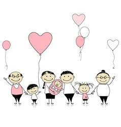 Happy birthday big family with children newborn ba vector