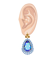 Human ear and hanging earring vector