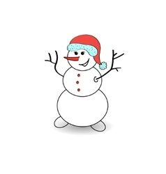 Joyful snowman on a white background vector image vector image