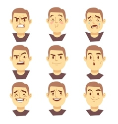 Man emotions faces cartoon business vector image vector image